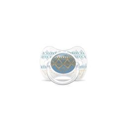 Suavinex - Пустушка з фізіологічною (круглою) соскою серії Couture, колір блакитний (з 4 до 18 міс)