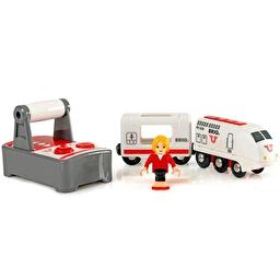 Іграшка локомотив на р/к BRIO з вагоном і пасажиром