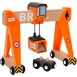 Іграшка портовий мостовий кран BRIO з вагончиком і вантажем