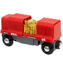 Іграшка вантажний вагончик BRIO з золотом