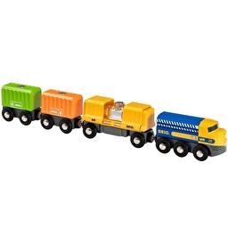 Іграшка вантажний потяг BRIO з трьома вагонами і вантажем