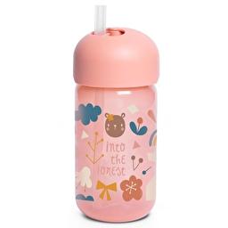 Бутылочка с трубочкой Suavinex Лесные истории 340 мл. +18 мес. розовый