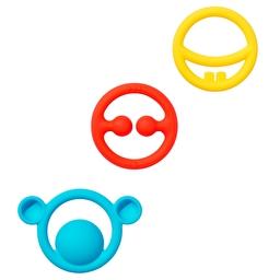 Іграшка-прорізувач Nigi+Nagi+Nogi (3 шт. в уп.) Moluk Urban Baby яскраві кольори