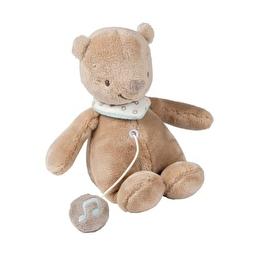 Мягкая музыкальная игрушка 21см мишка Базиль Nattou