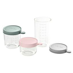 Набір з 3-х контейнерів зі скла (150 мл + 250 мл +400 мл) - рожевий/сірий/евкаліпт