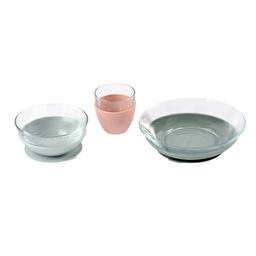 Набор детской посуды из стекла 3 предмета Beaba - розовый/серый