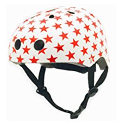 Велосипедный шлем Coconut Trybike (цвет белый с красными звёздами, 44–51 см)