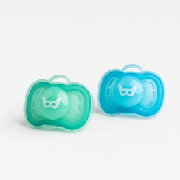 Herobility - Набор пустышек HeroPacifier 0-6 месяцев, цвет голубой и бирюзовый, 2 шт.