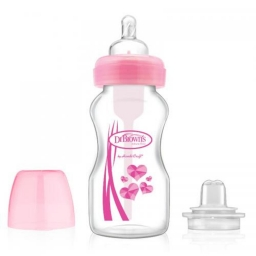 Бутылочка-поильник с широким горлышком, со сменным носиком и соской 3-го уровня, 270 мл, цвет розовы